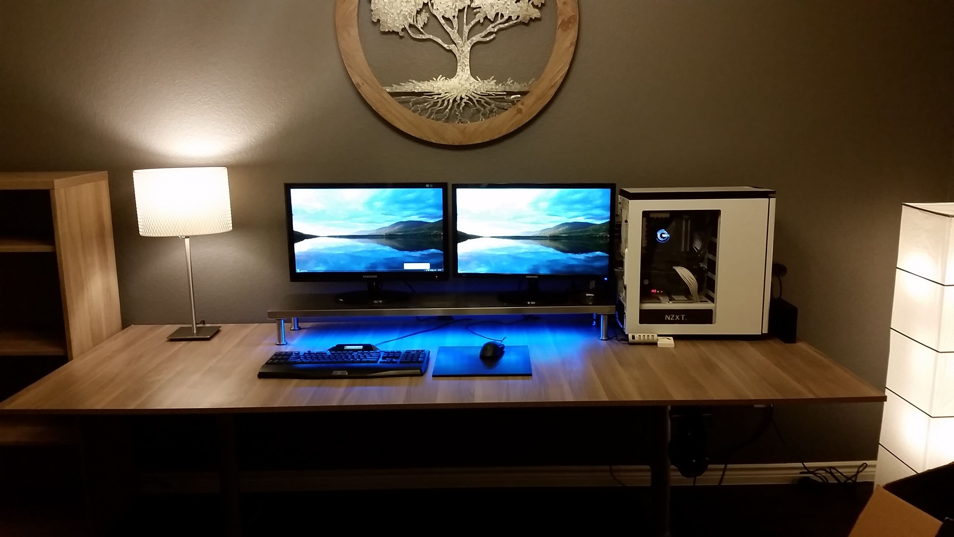 My 87 00 Ultrawide 8 39 Ikea Hacked Desk Imgur Double Monitor Setup Gamer Room Ikea Desk