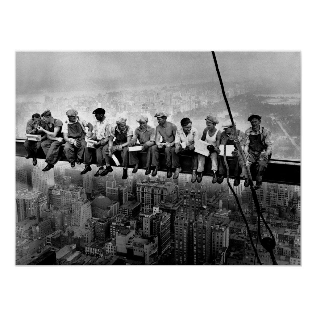 This iconic Lunch Atop A Skyscraper C1932 Poster of some very brave iron workers in New York City relaxing on a girder having their lunch.