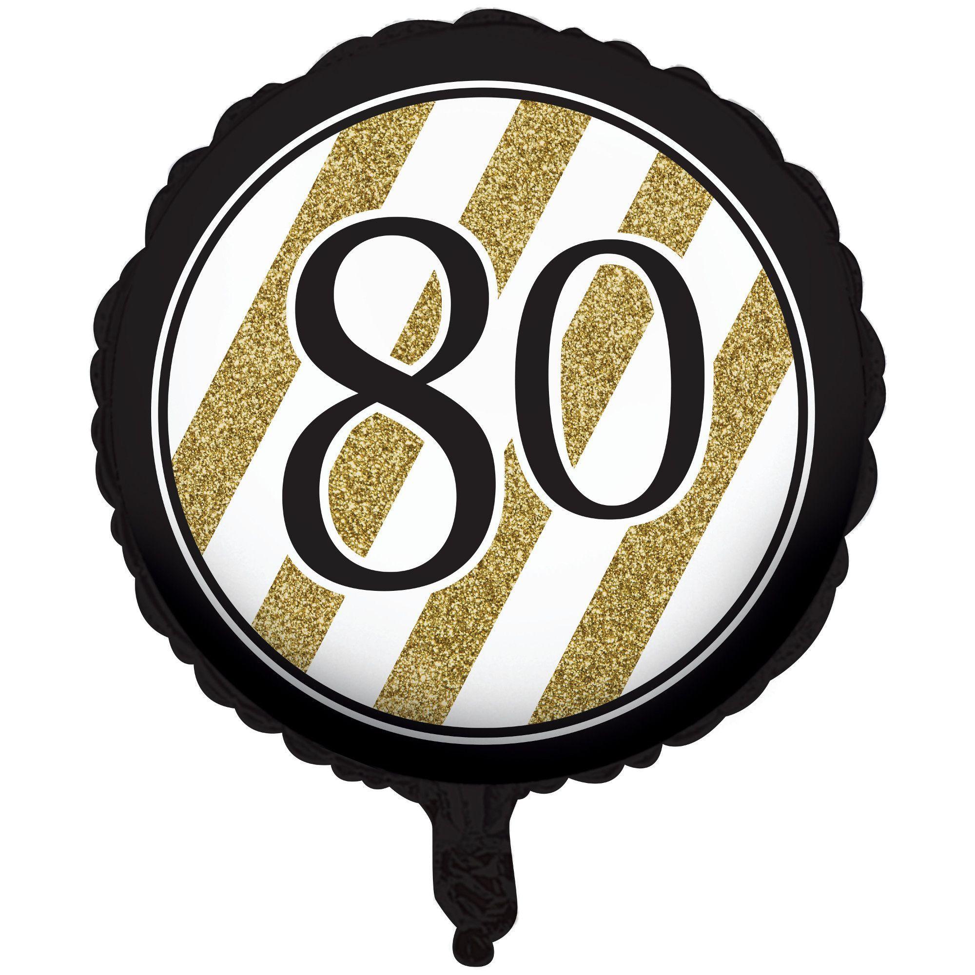 Black Gold Metallic 80th Birthday Ballooncase Of 10