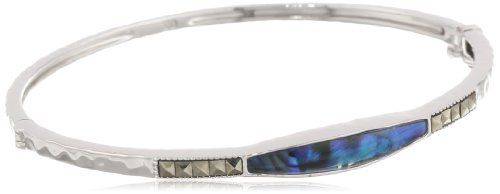 Judith Jack 22clouds 22 Sterling Silver Marcasite Abalone Quartz Slice Bangle Bracelet 2c