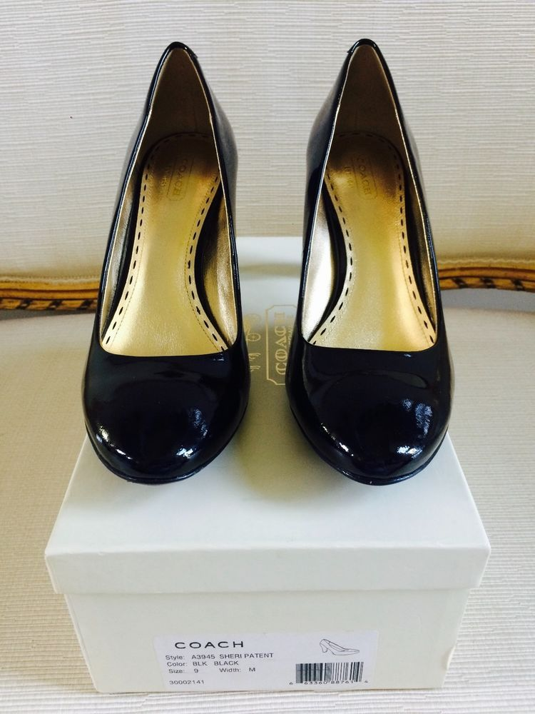 559557be651 COACH Womens Black Sheri Patent Leather Round Toe Heels Pumps Shoes Sz 9  NWB  Coach  PumpsClassics  Alloccasions