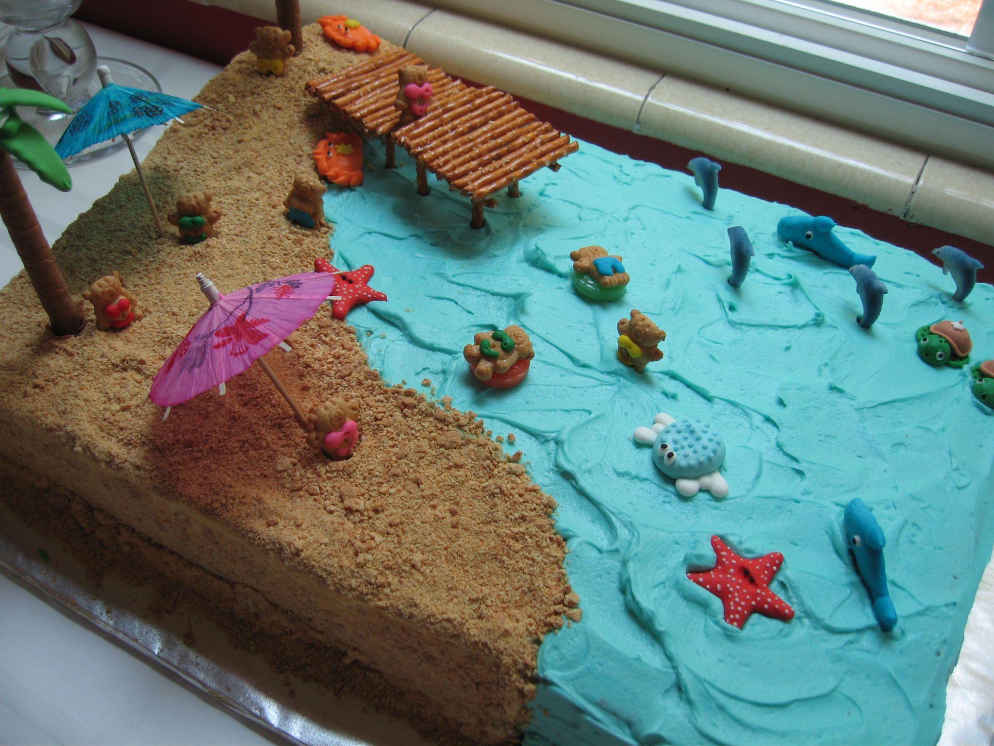 Summer Beach Cake Sams Bday Pinterest Beach Cakes Beach And Cake