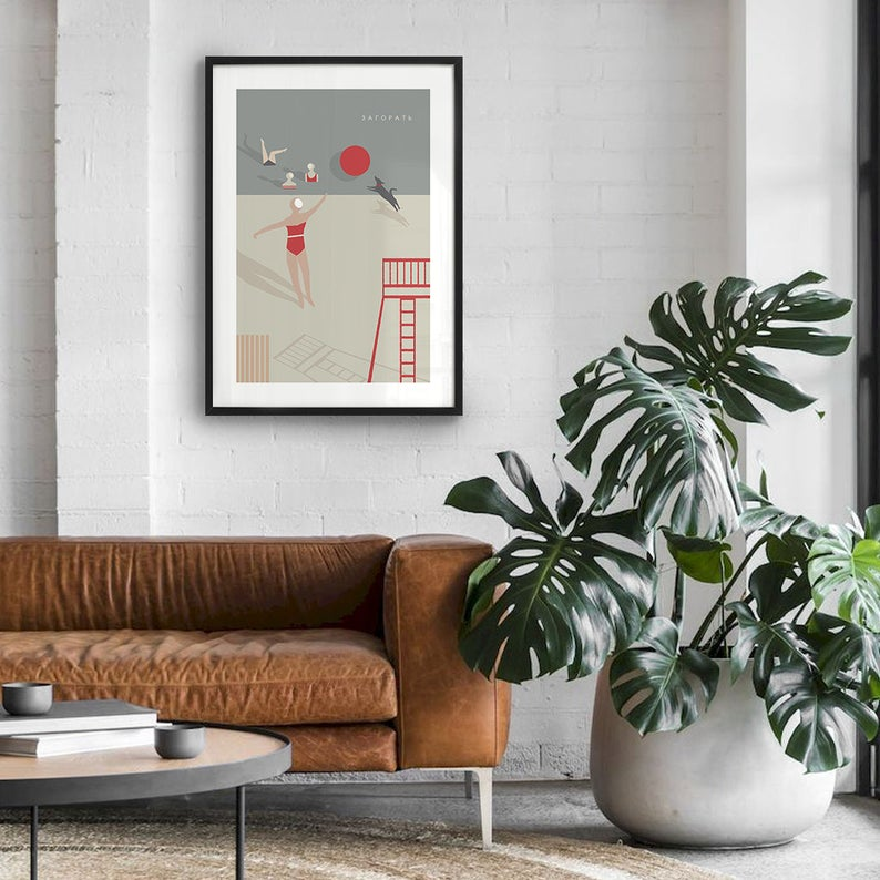 To Sunbathe Art Print Beach Wall Decor Scandinavian Poster Etsy Beach Wall Decor Summer Wall Art Art Prints