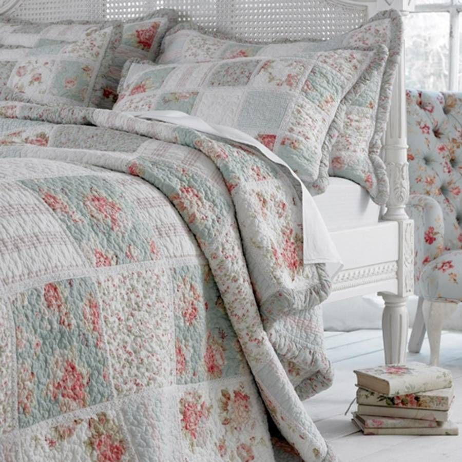 Duck Egg Blue Floral Patchwork Quilt BedspreadA gorgeous quilted ... : bedspread quilts - Adamdwight.com