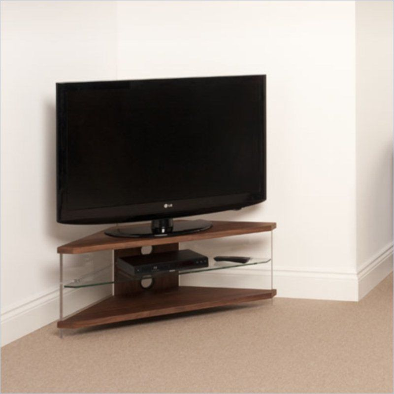 Air Acrylic And Glass Corner Tv Stand In Walnut Corner Tv Stand Corner Tv Stands Small Corner Tv Unit