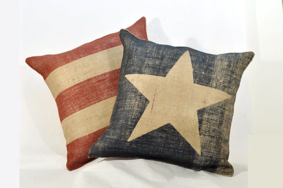American Flag Pillows - Burlap Pillow Set - Beach House Cabin Decor - 16 x 16 Inches - Family Room - Custom Order - Patriotic on Etsy, $75.00
