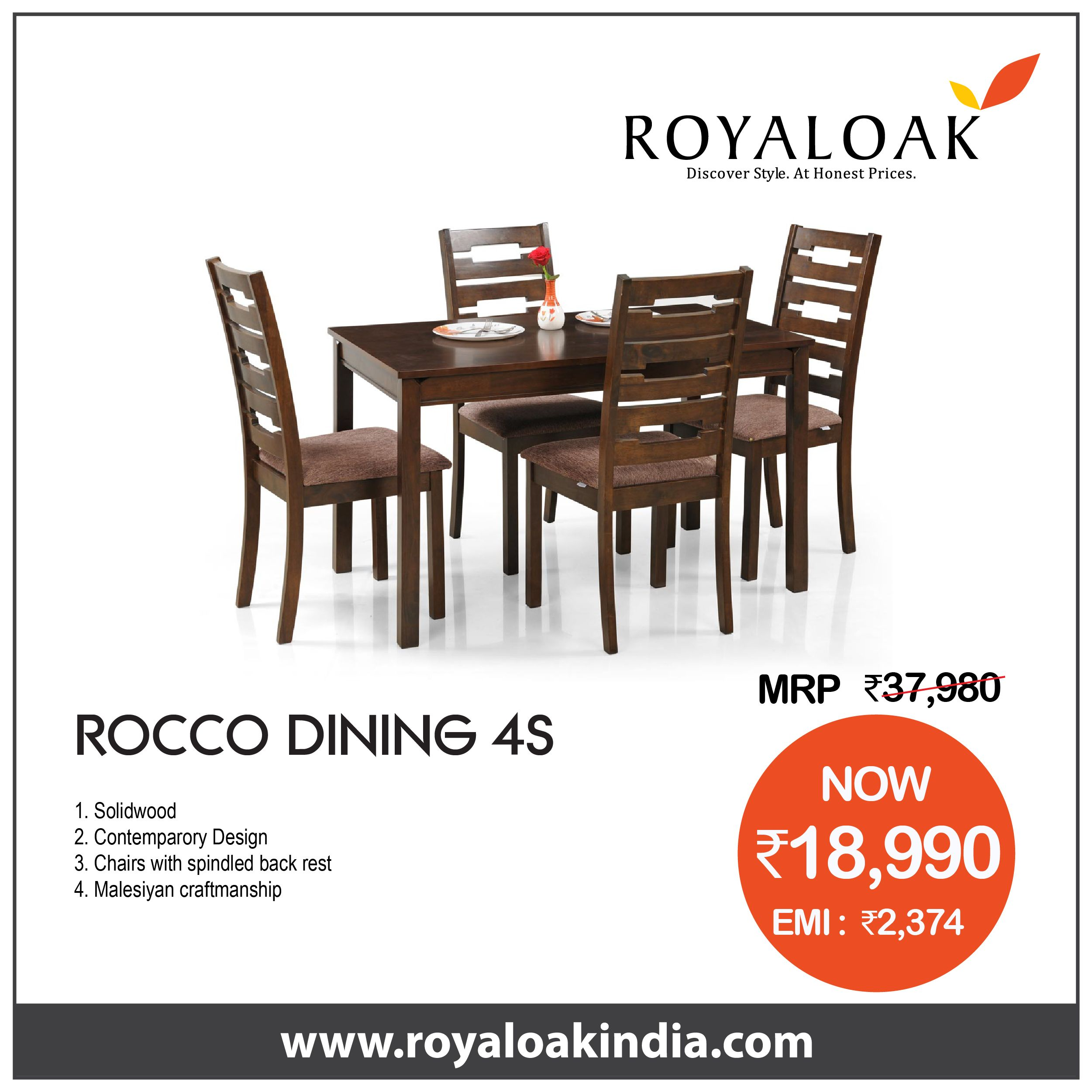 Pin By Royaloak Furniture On Royaloak Dining Set 4 Seater With Images Buy Furniture Online Online Furniture Buying Furniture