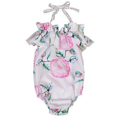 3e3561bdf96 Floral Newborn Infant Baby Girl Romper Jumpsuit Ruffles Flower ...