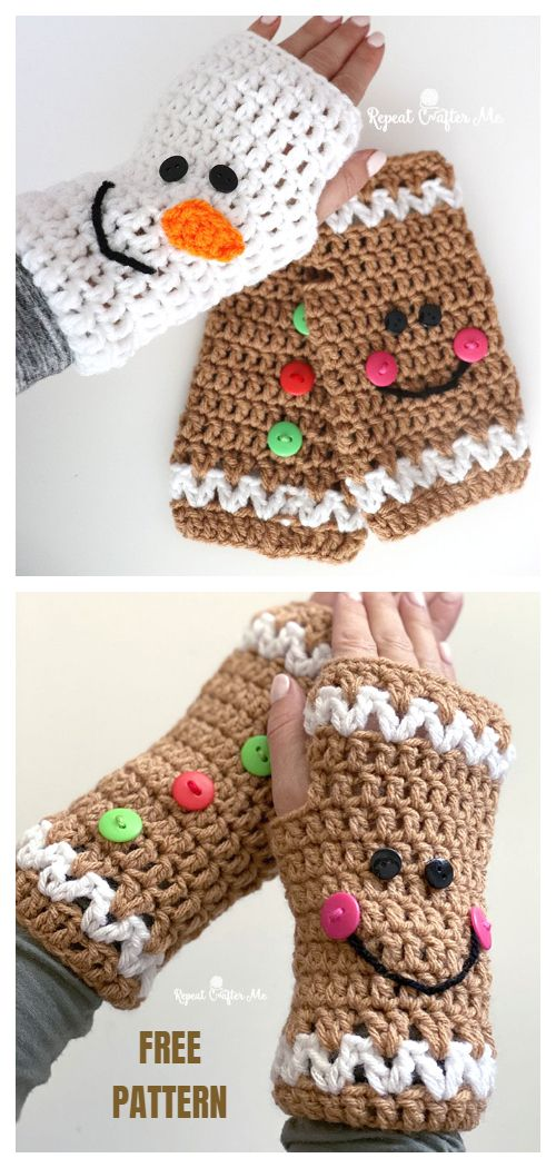 6 Christmas Fingerless Mittens Free Crochet Patterns & Paid #craftprojects