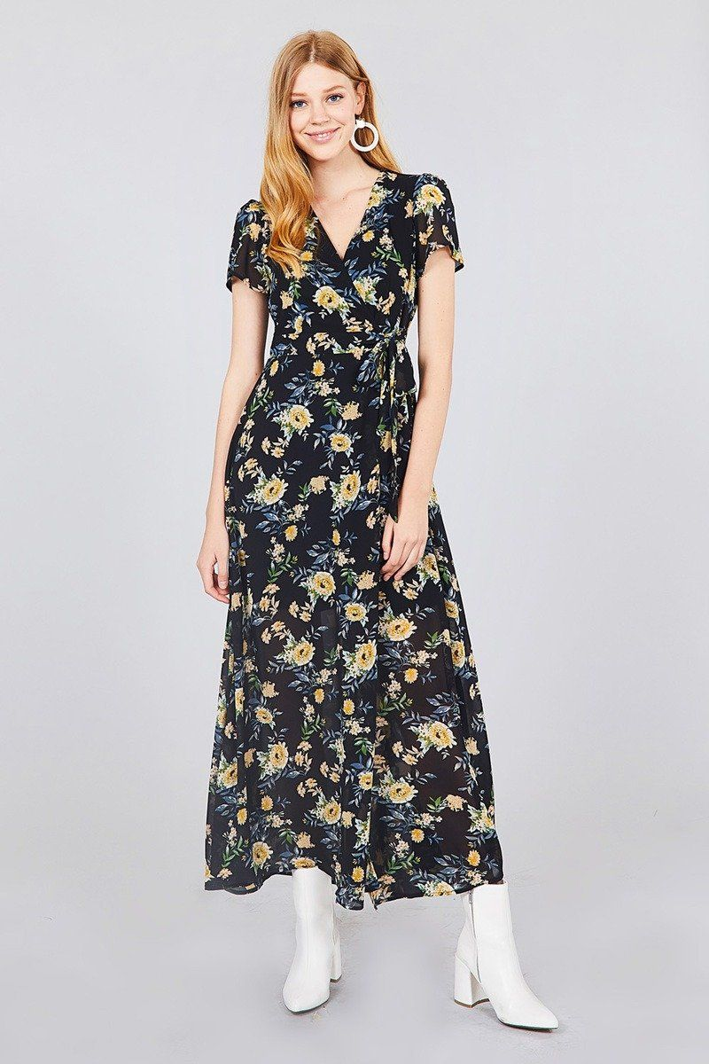 f007153ad99b Get ready for spring and summer with this pretty black floral maxi dress!  Pairs beautifully