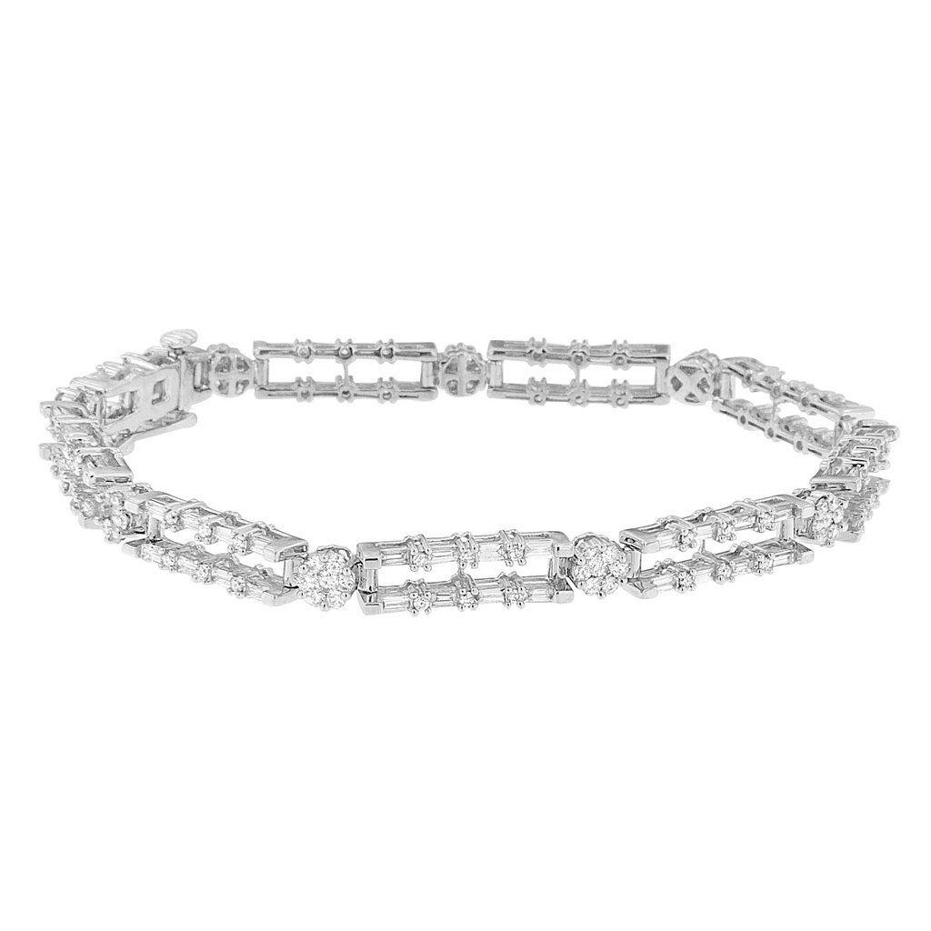 K white gold ct tdw round and baguettecut diamond bracelet
