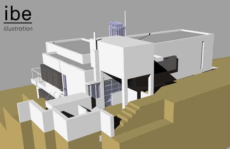 E 1027 Eileen Gray eileen gray e1027 house 3d illustration architecture