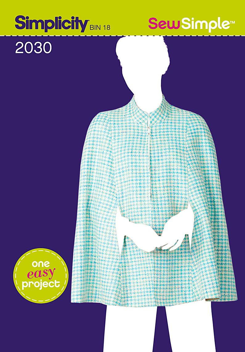 Simplicity Creative Group - Sew Simple Misses\' Cape 2030 in sizes X ...