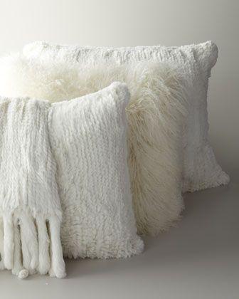 FurPillowsandThrowbyAdrienneLandauatNeimanMarcus Fur Enchanting Rabbit Fur Pillow Cover