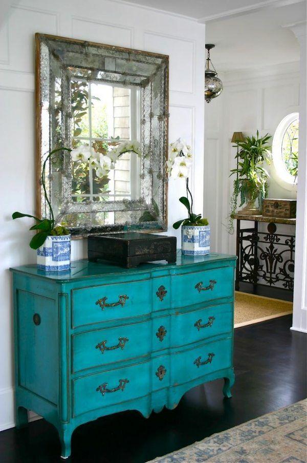 Vintage Möbel Kommode Lackieren Blau Lasurlack Flur Gestaltung
