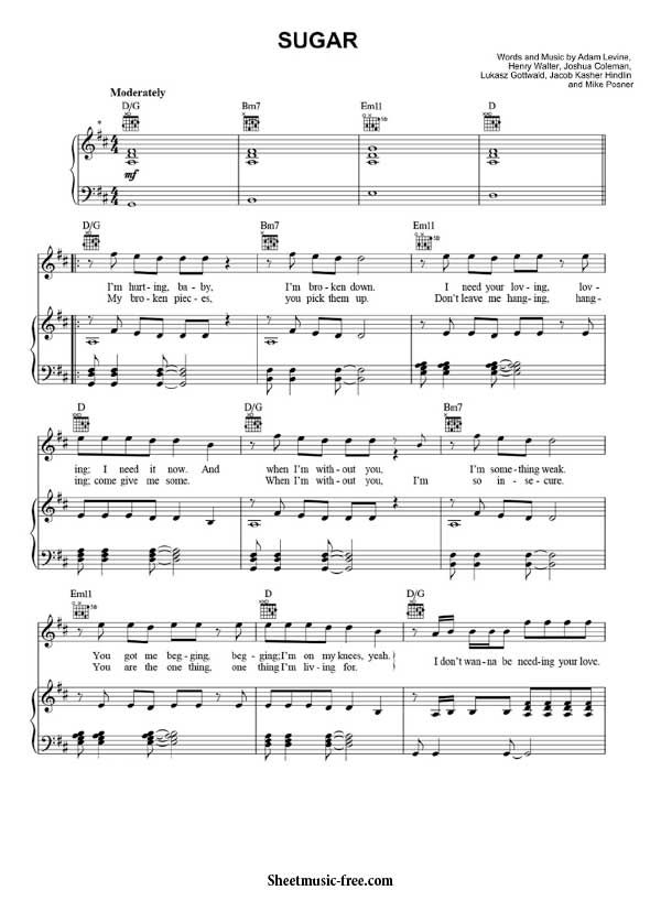 Sugar Sheet Music Maroon 5 Sugar Piano Sheet Music Piano Sheet