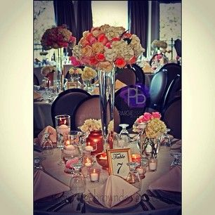 www.paigebrowndesigns.com  elegant wedding, upscale wedding, pink and gold wedding, tall centerpieces, Paige Brown Designs Instagram photos  @paigebrowndesigns - EnjoyGram WWW.PAIGEBROWNDESIGNS.COM