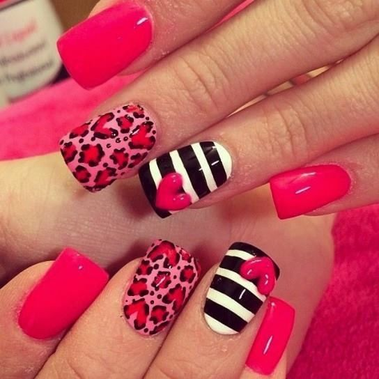 Pin by pekita on uas fciles pinterest zebra nail designs pink cheetah and stripes with heart nails prinsesfo Choice Image