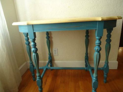 Vtg French Country Blue Yellow Very Detail Distressed Side Entry TV Table | eBay