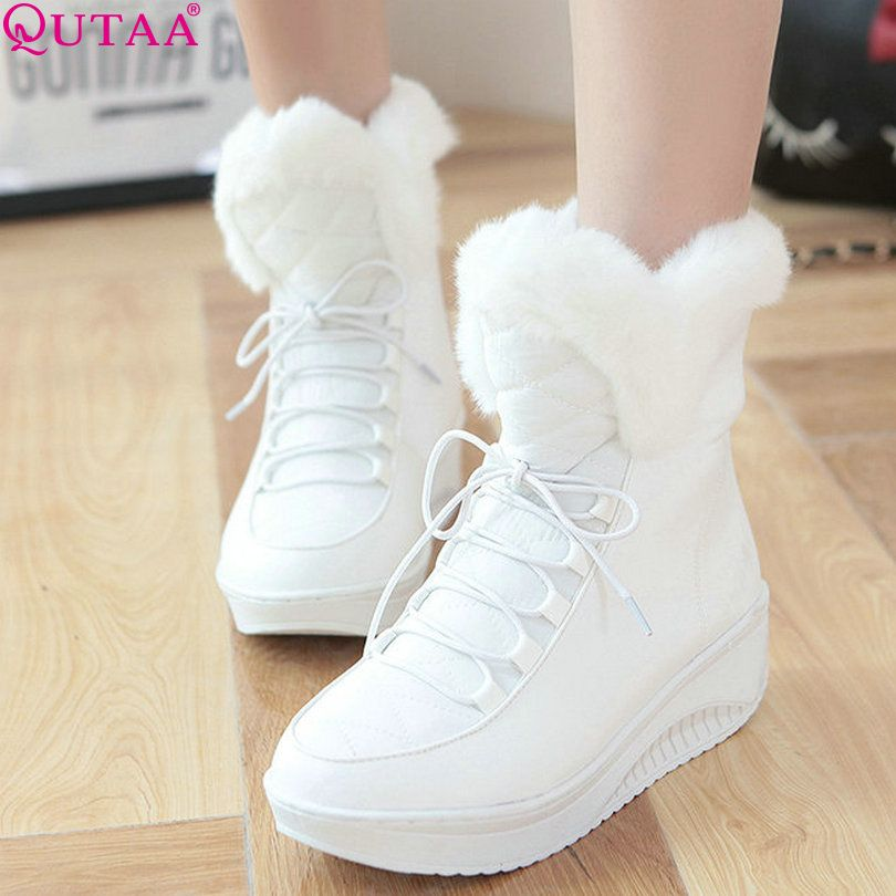 Womens PU Wedge Heel Sneakers Winter Velcro Ankle High Snow Boots