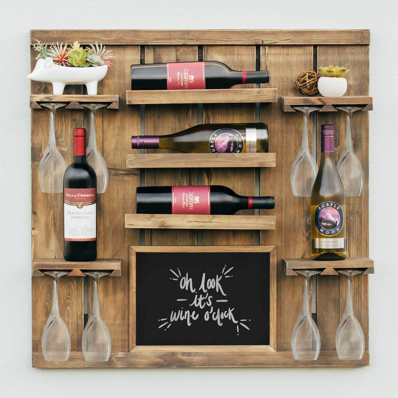 Chalkboard wine rack shelf with stemware slots holds 8