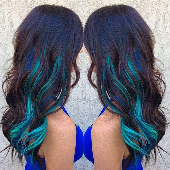 Makeupbag Hair Color Streaks Blue Brown Hair Hair Styles