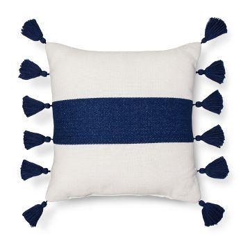 Threshold Striped Tassel Pillow Blue Bed Pillows Decorative Black Decorative Pillows Blue Pillows