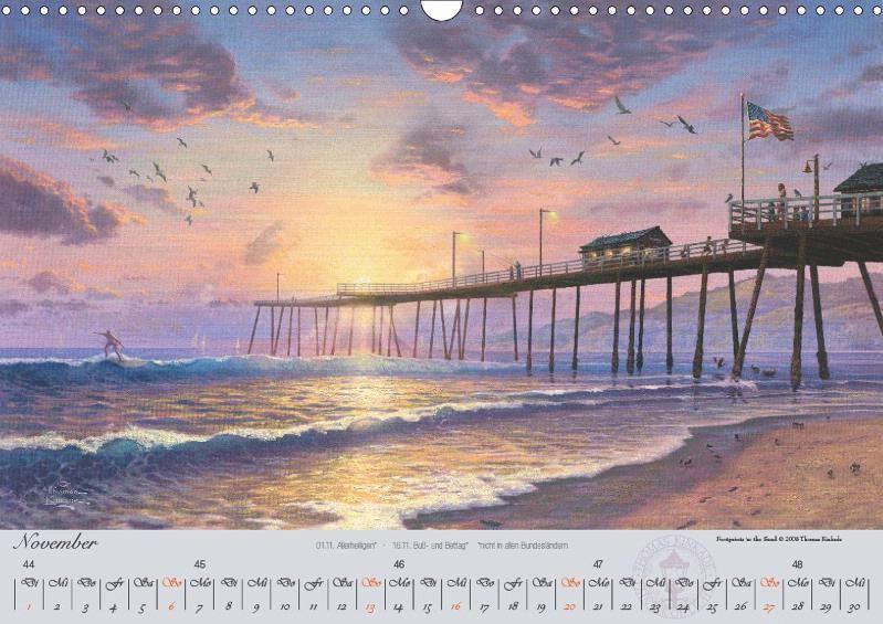 Thomas Kinkade: An der Küste - CALVENDO Kalender
