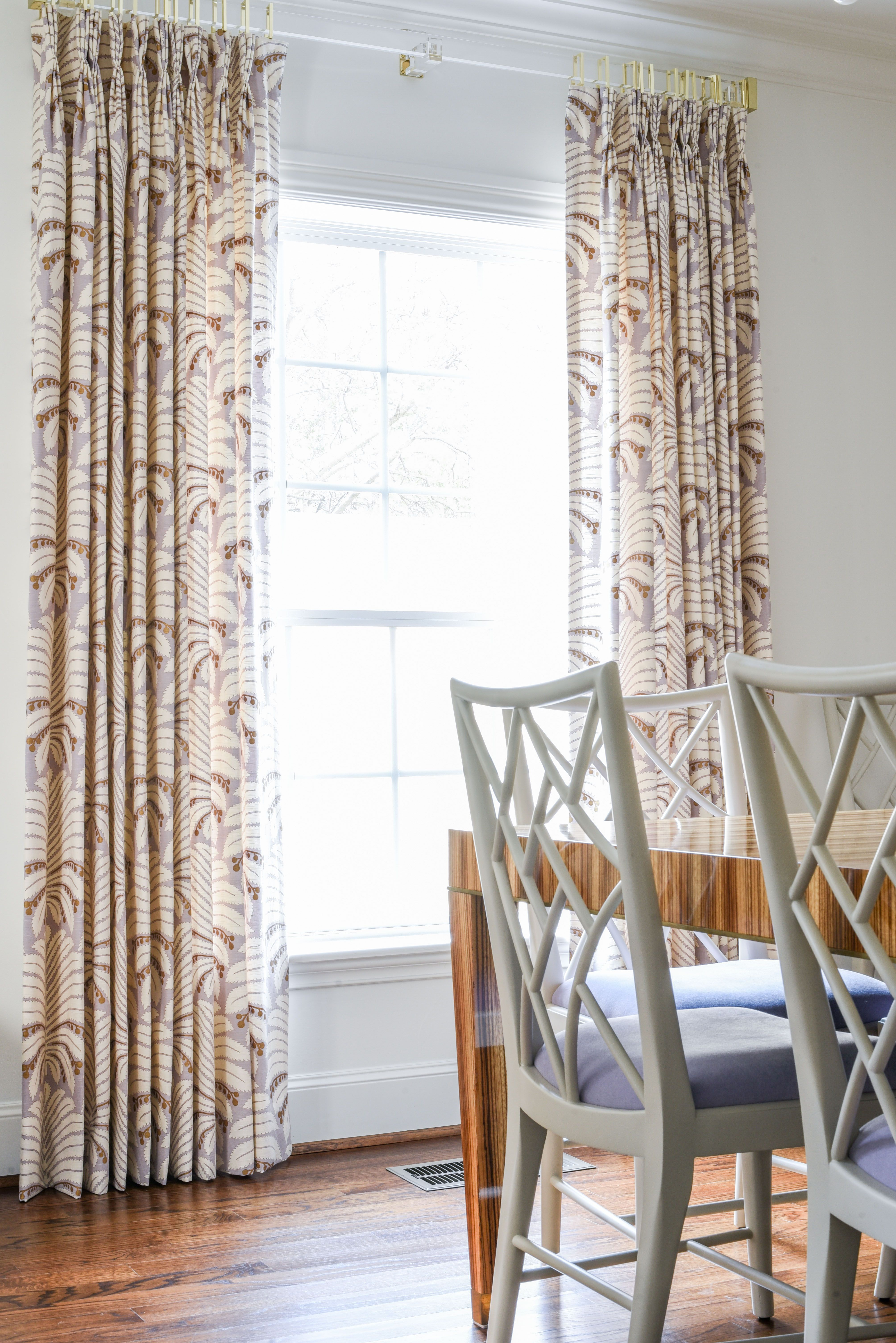 Dining Room Design With Custom Drapes Zebra Wood Dining Table