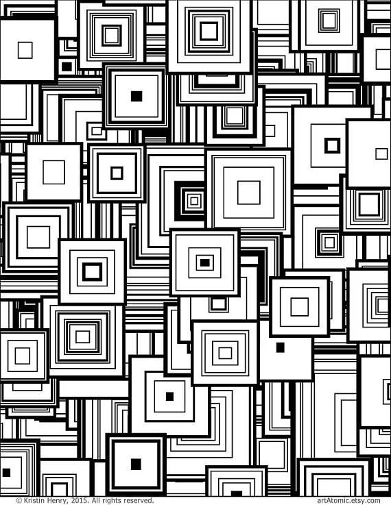 Instant Download Adult Coloring Page Generative Squares Math