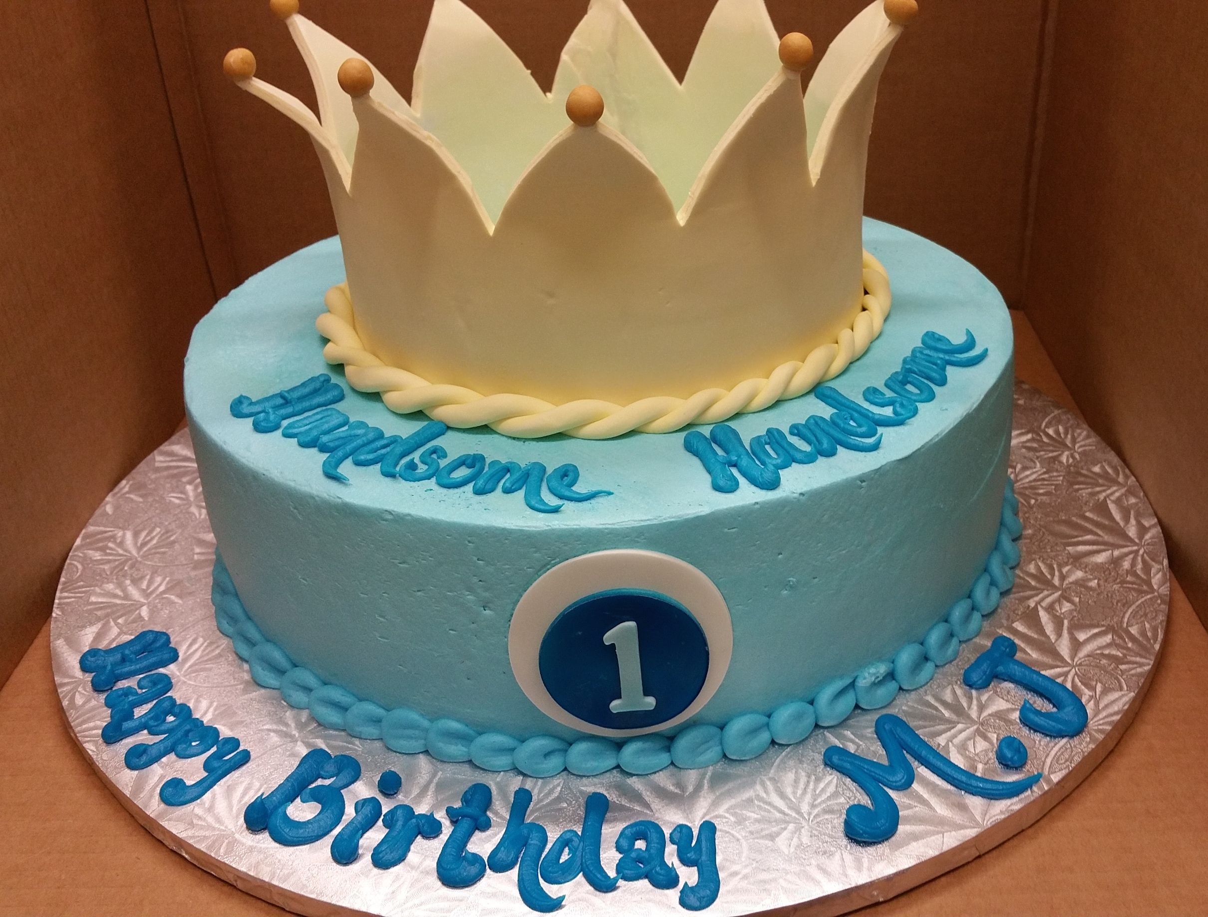 Calumet Bakery 1st Birthday Cake With Crown For Boy
