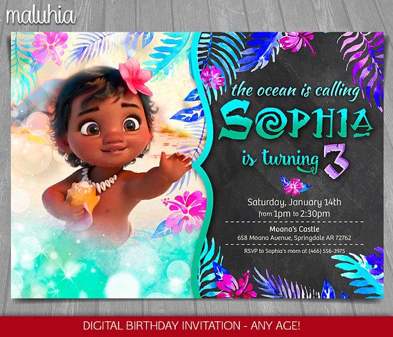 moana invitation disney moana invite