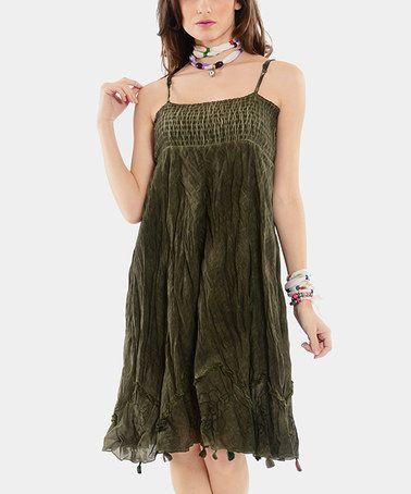 Look at this #zulilyfind! Khaki Smocked Tank Dress #zulilyfinds