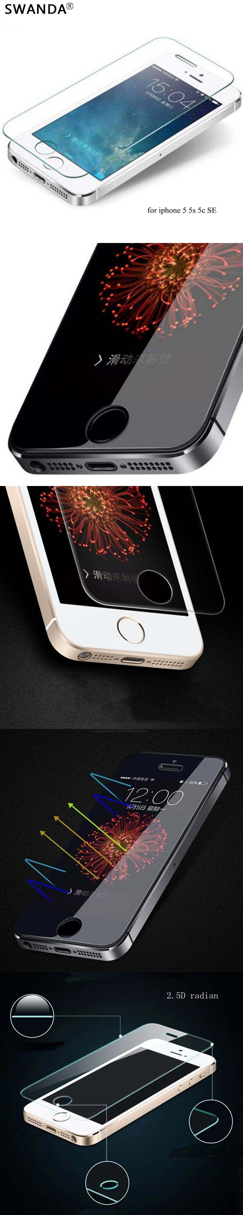 tempered glass on the for iPhone 5s glass HD clear screen hardness tempered glass for iphone