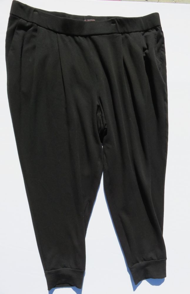 Eileen Fisher Fleece Jogger Pants Black Tapered Ankle Plus Size 3X #EileenFisher #CasualPants