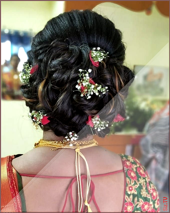 Messy Bun Styled For South Indian Bride Bunstyles Newtrends Bridalmakeup Updo L Messybun Messy Bun Styl In 2020 Bridal Hair Buns Bun Styles Headband Hairstyles