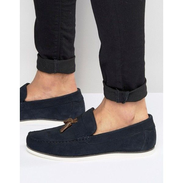 ASOS Loafers In Navy Suede  ? liked on Polyvore featuring men's  fashion