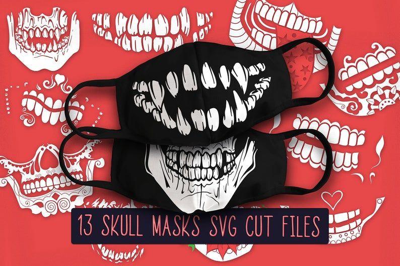 Skull Face Mask Svg Skull Mask Svg Skull Mask Cricut Face Etsy In 2020 Halloween Face Mask Skull Face Skull Face Mask