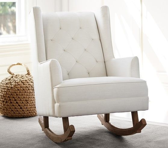 Modern Tufted Wingback Convertible Rocking Chair Amp Ottoman