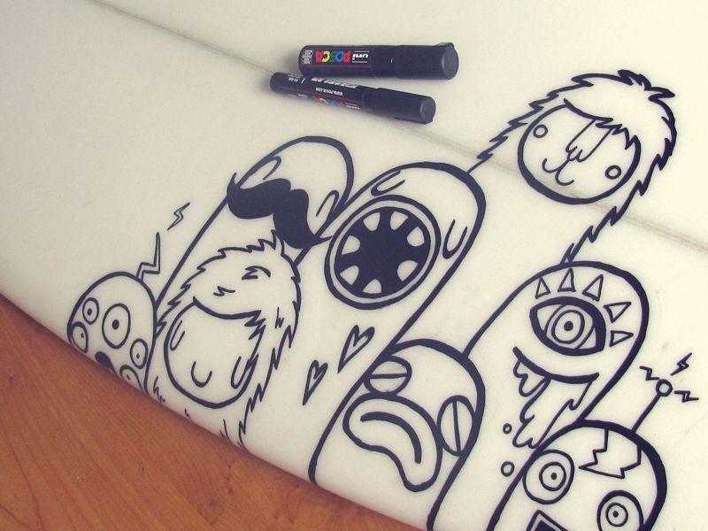 Dribbble - Surfboard doodle by Lienke Raben