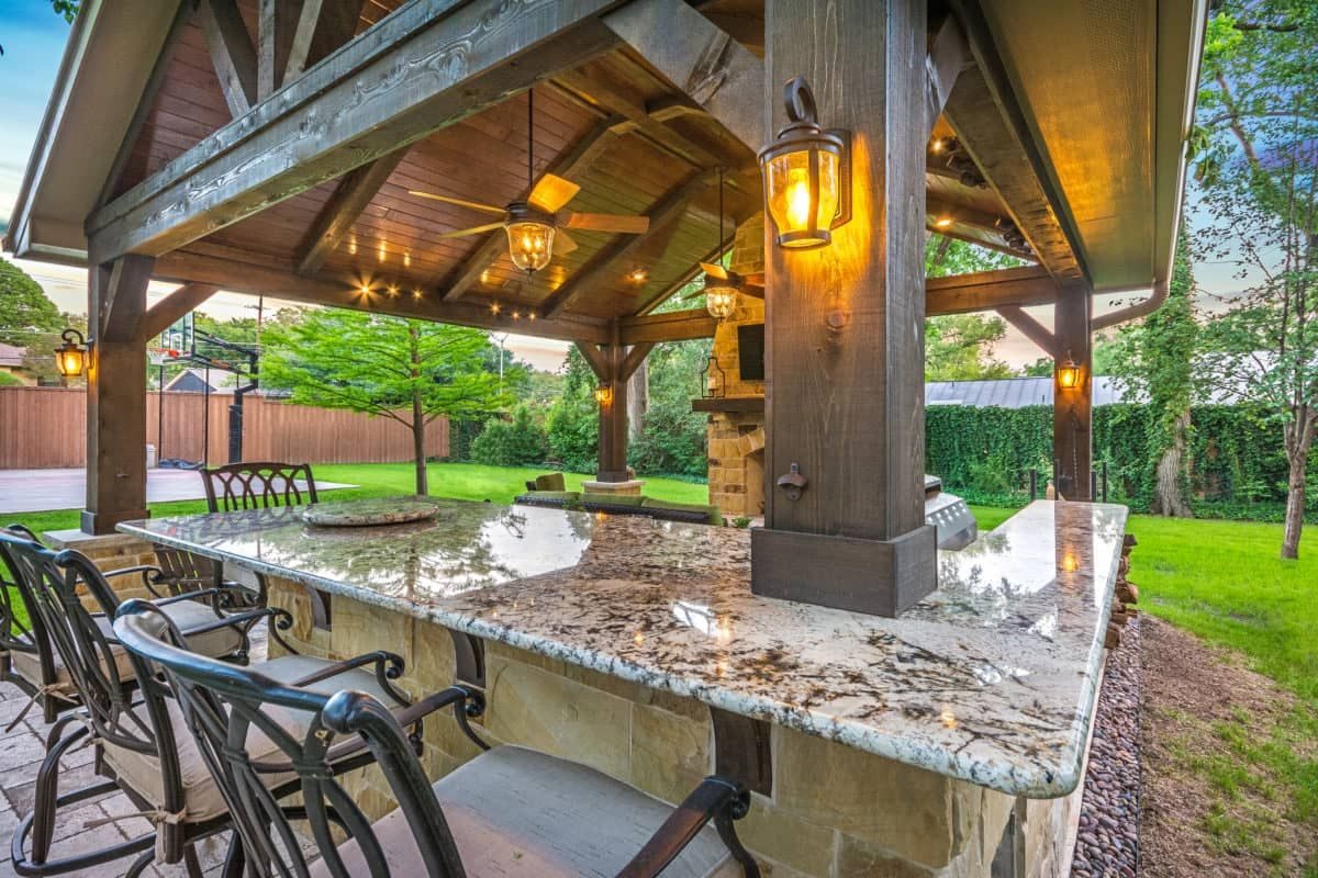 This Freestanding Covered Patio With An Outdoor Kitchen And Fireplace Is The Perfect Retreat From The Constraints Patio Rustic Outdoor Kitchens Outdoor Retreat
