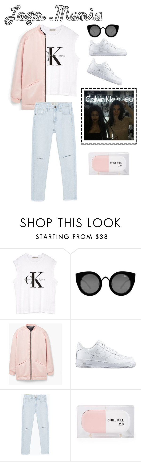 """Untitled #20"" by theeleventhhour ❤ liked on Polyvore featuring Calvin Klein, Quay, MANGO, NIKE, Zara and Sarah's Bag"