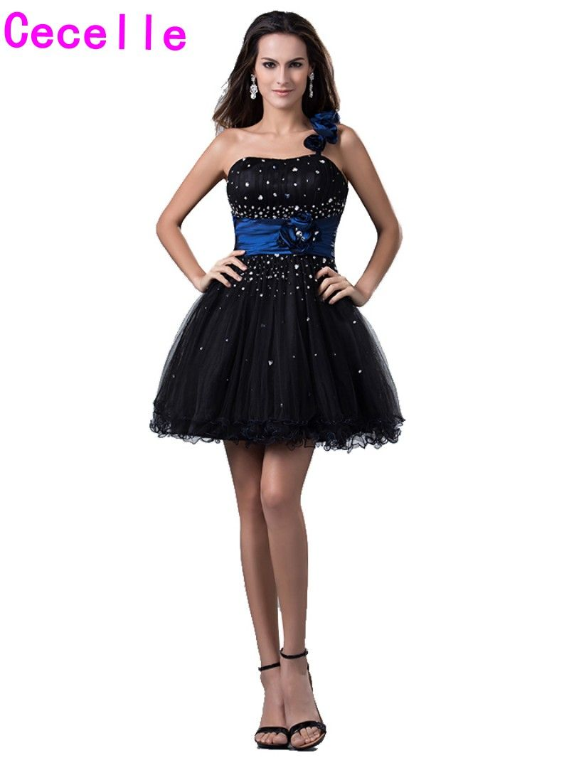 Click to buy ucuc black one shoulder juniors short homecoming