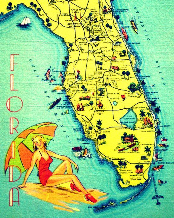 Sunny Florida Map Art Fine Art Print Beach House Decor Florida