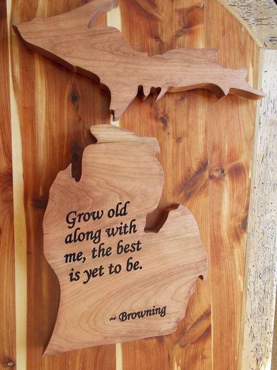 Michigan Shape Wood Michigan State And Upper Peninsula State Cut