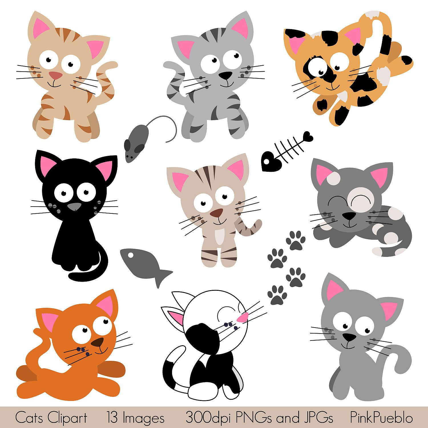 cats clipart clip art kitten clipart clip art commercial and personal use 6 00 via etsy  [ 1500 x 1500 Pixel ]