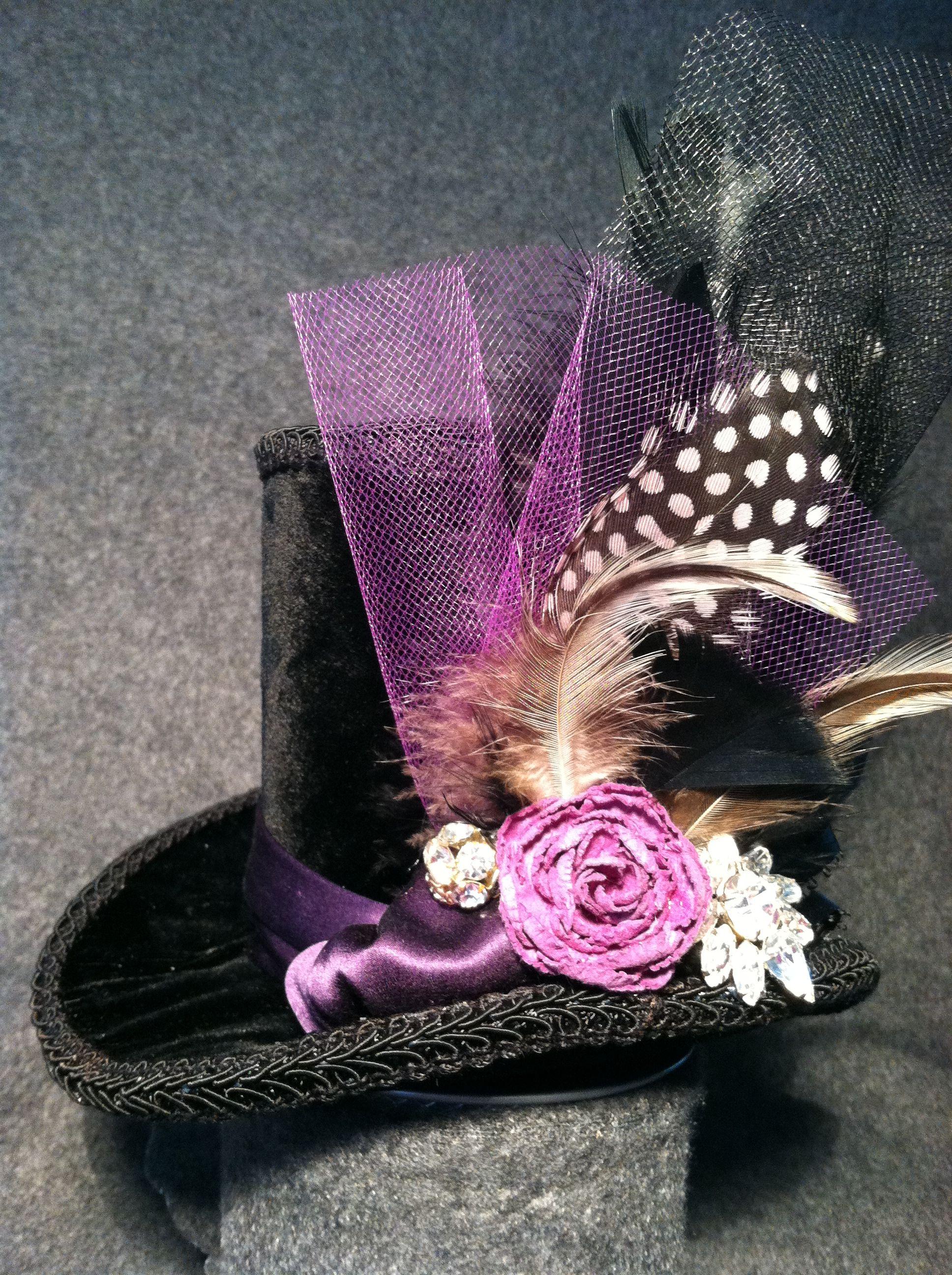 Black Velvet with Purple accents Mini Top hat. $55. https://www.etsy ...