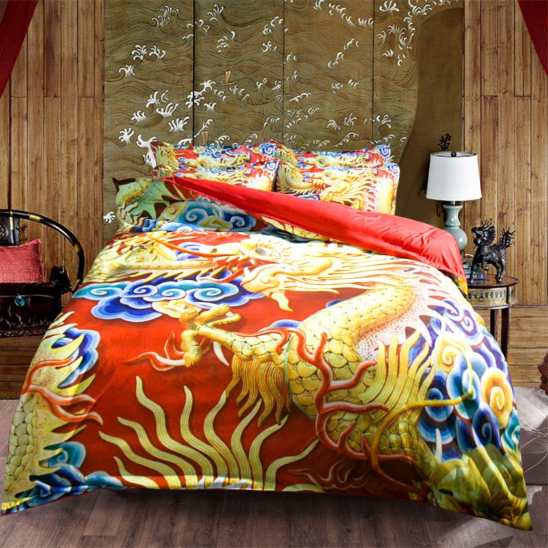Unique Traditional Chinese Dragon 3d Bedding Set Twin Queen King Size Duvet Cover Red Fitted Sheets Or Flat Sheet Sets Dragon Duvet Red Duvet Cover King Size Duvet Covers