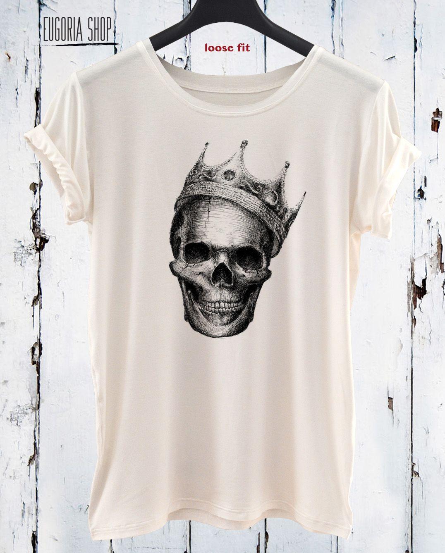 The Scull Crown T Shirt Custom Hand Screen Printed Design Teen