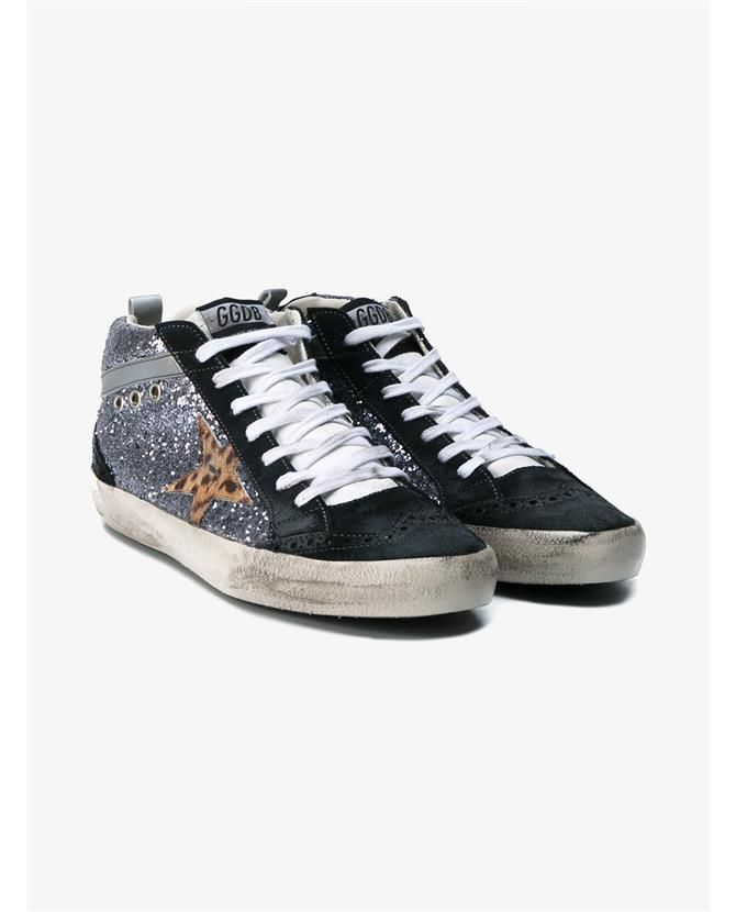 GOLDEN GOOSE Mid Star Leather & Glitter Sneakers. #goldengoose #shoes  #sneakers